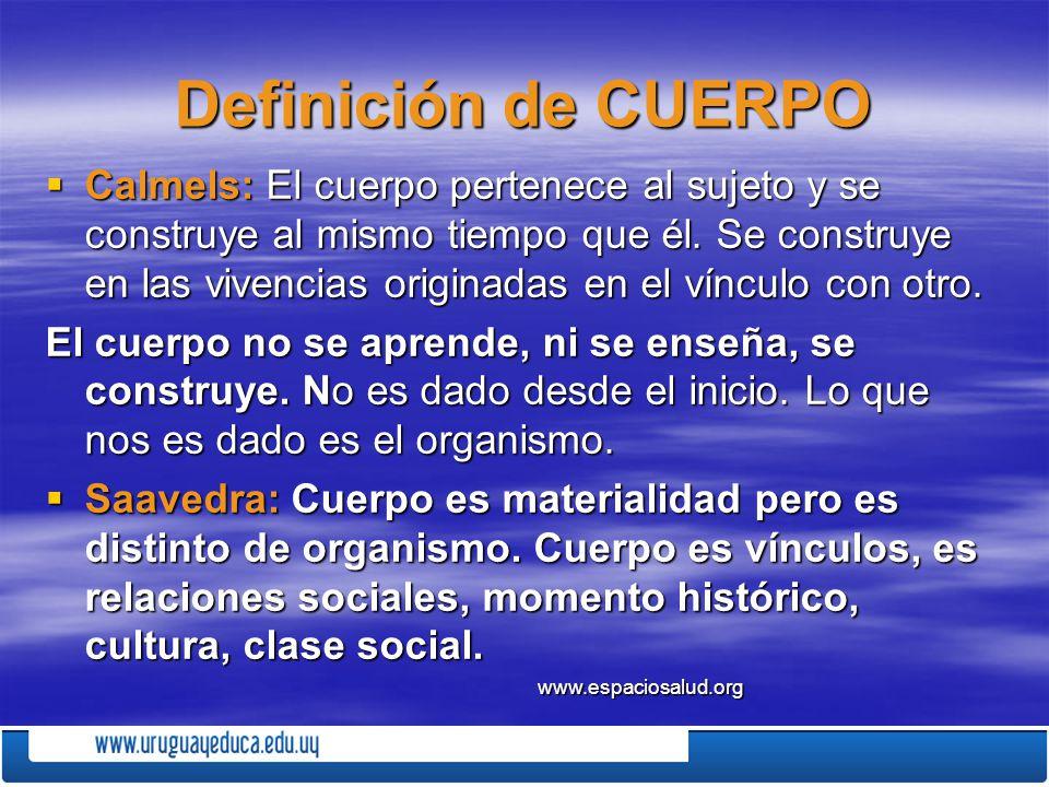 DIFERENCIAS ENTRE CUERPO Y ORGANISMO ORGANISMOCUERPO ASOCIADO A ORGANOS Y SUS FUNCIONES ASOCIADO AL FUNCIONAMIENTO Y LA FUNCIONALIDAD (GESTOS, EXPRESIONES) TODOS TENEMOS UNO DESDE EL INICIO (TENER) SINTESIS DEL SER Y EL SABER (CONSTRUIDO SOCIO-HISTORICO- CULTURALMENTE) NOS DA DATOS DE LA ESPECIE NOS DA DATOS DE LA ESPECIE NOS DA DATOS DE LA PERSONA MEMORIA GENETICA MEMORIA DE SU GENESIS Y SUS EXPERIENCIAS SE DOMESTICA, SE ACOSTUMBRA SE MEDICA SE ENSAYA, SE EQUIVOCA, SE CORRIGE, APRENDE DA SEÑALES TRADUCE EN GESTOS LAS SEÑALES www.espaciosalud.org