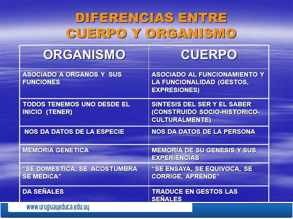 DIFERENCIAS ENTRE CUERPO Y ORGANISMO ORGANISMOCUERPO ASOCIADO A ORGANOS Y SUS FUNCIONES ASOCIADO AL FUNCIONAMIENTO Y LA FUNCIONALIDAD (GESTOS, EXPRESI