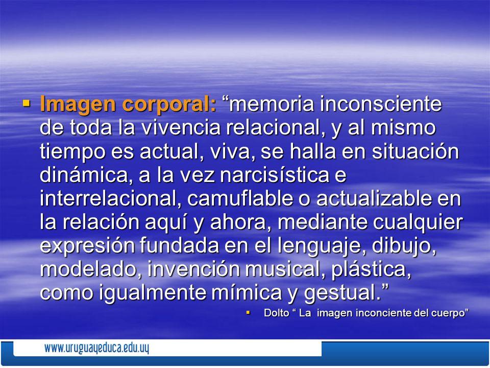 Imagen corporal: memoria inconsciente de toda la vivencia relacional, y al mismo tiempo es actual, viva, se halla en situación dinámica, a la vez narc