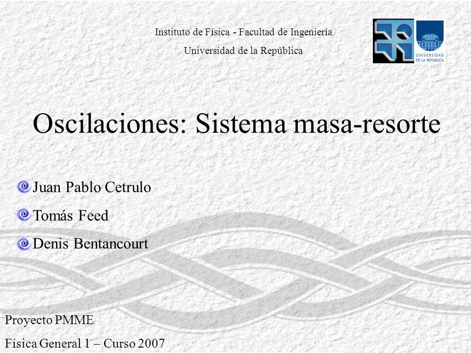 Proyecto PMME Física General 1 – Curso 2007 Oscilaciones: Sistema masa-resorte Juan Pablo Cetrulo Tomás Feed Denis Bentancourt Instituto de Física - F