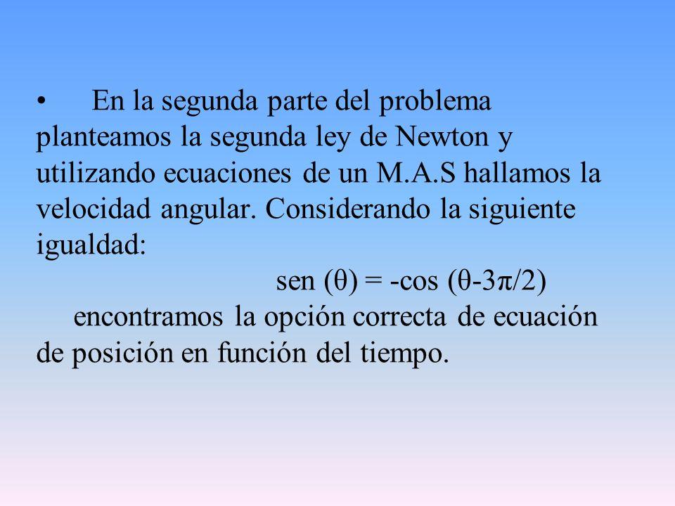 En la segunda parte del problema planteamos la segunda ley de Newton y utilizando ecuaciones de un M.A.S hallamos la velocidad angular. Considerando l