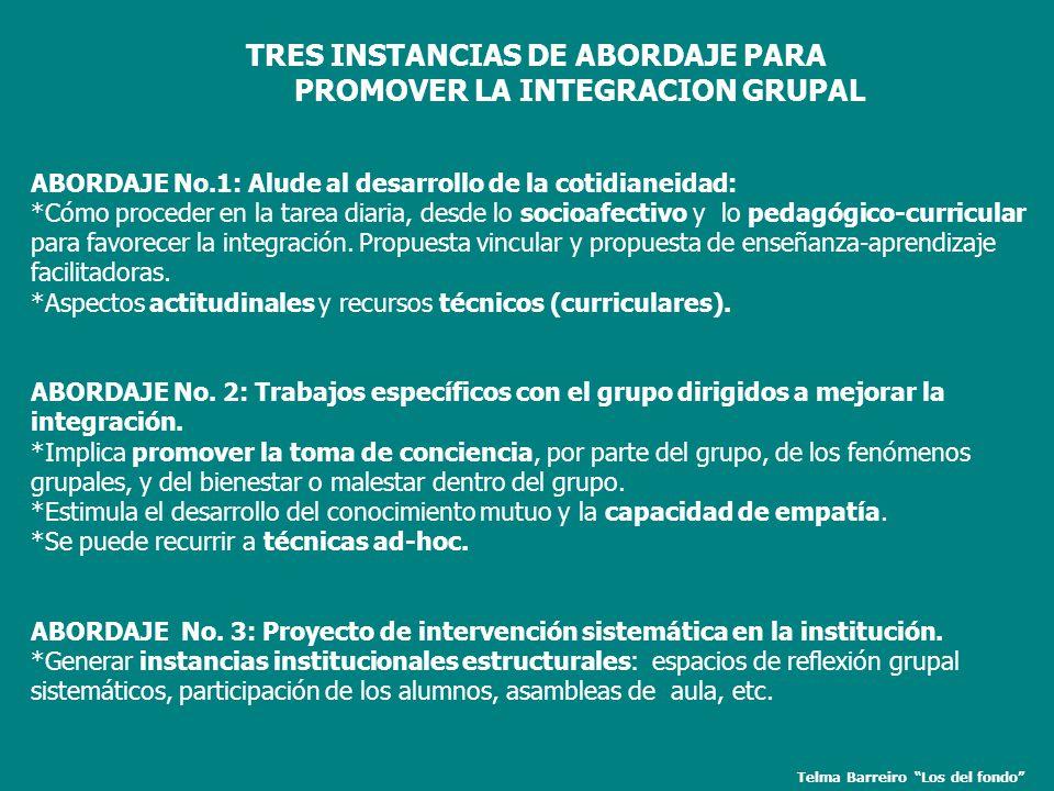 TRES INSTANCIAS DE ABORDAJE PARA PROMOVER LA INTEGRACION GRUPAL ABORDAJE No.1: Alude al desarrollo de la cotidianeidad: *Cómo proceder en la tarea dia