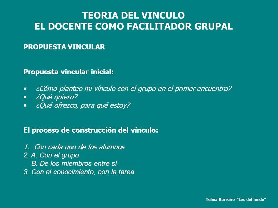 TEORIA DEL VINCULO EL DOCENTE COMO FACILITADOR GRUPAL PROPUESTA VINCULAR Propuesta vincular inicial: ¿Cómo planteo mi vínculo con el grupo en el prime