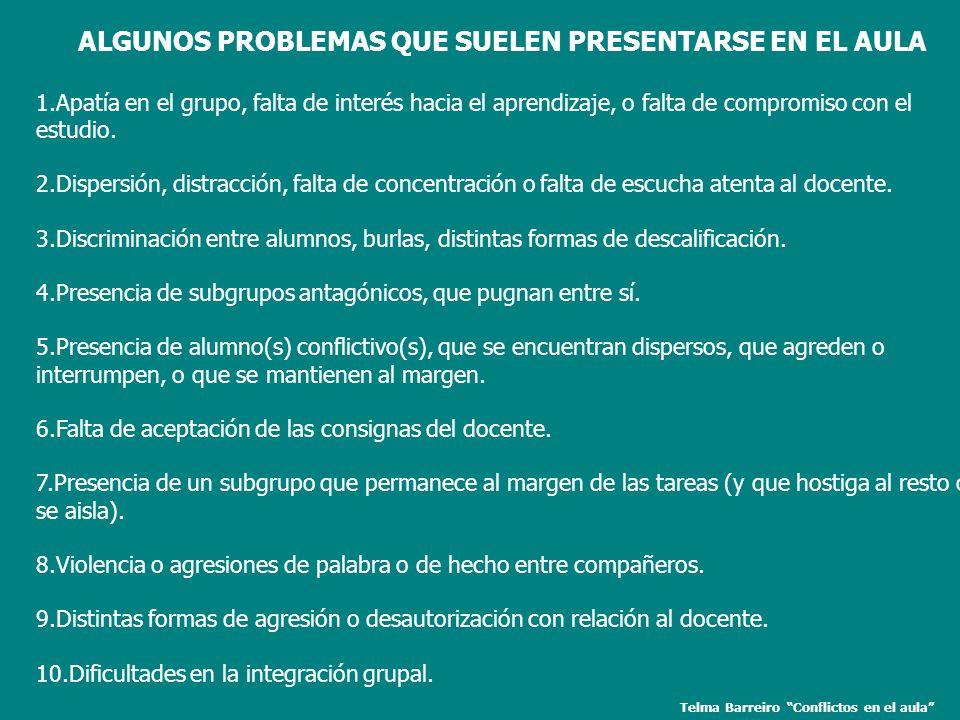 ALGUNOS PROBLEMAS QUE SUELEN PRESENTARSE EN EL AULA 1.Apatía en el grupo, falta de interés hacia el aprendizaje, o falta de compromiso con el estudio.