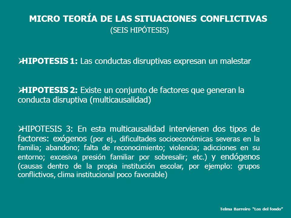 Telma Barreiro Los del fondo MICRO TEORÍA DE LAS SITUACIONES CONFLICTIVAS HIPOTESIS 1: Las conductas disruptivas expresan un malestar HIPOTESIS 2: Exi