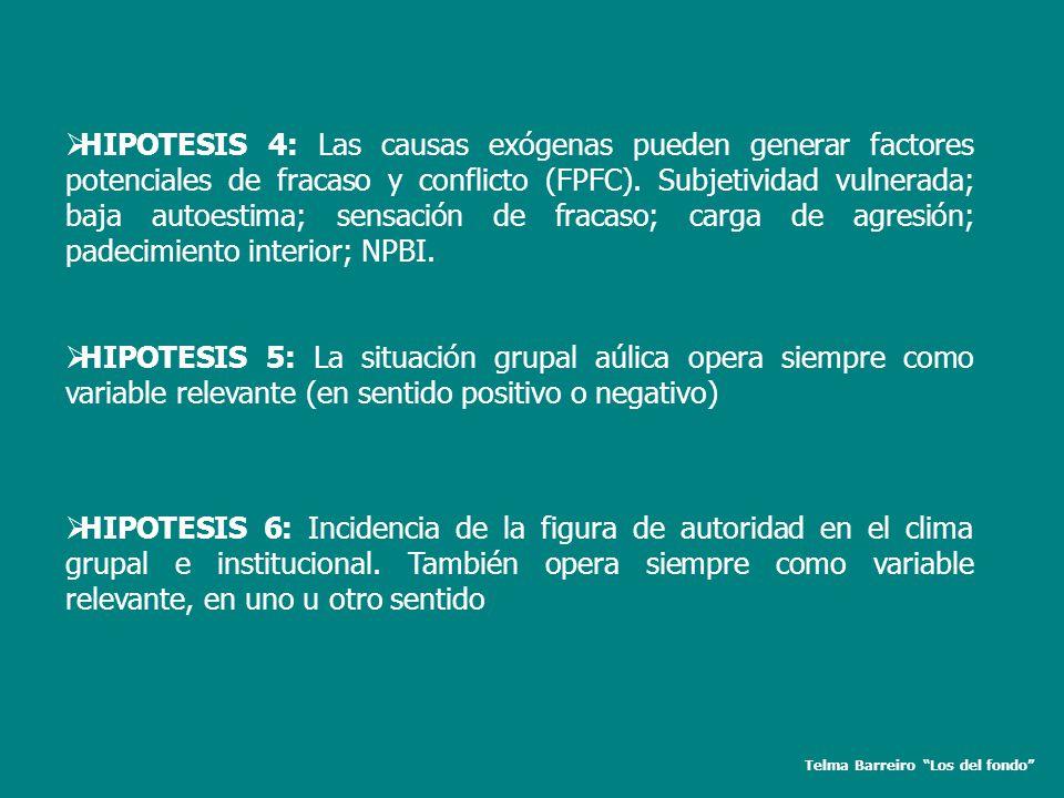 Telma Barreiro Los del fondo HIPOTESIS 4: Las causas exógenas pueden generar factores potenciales de fracaso y conflicto (FPFC). Subjetividad vulnerad