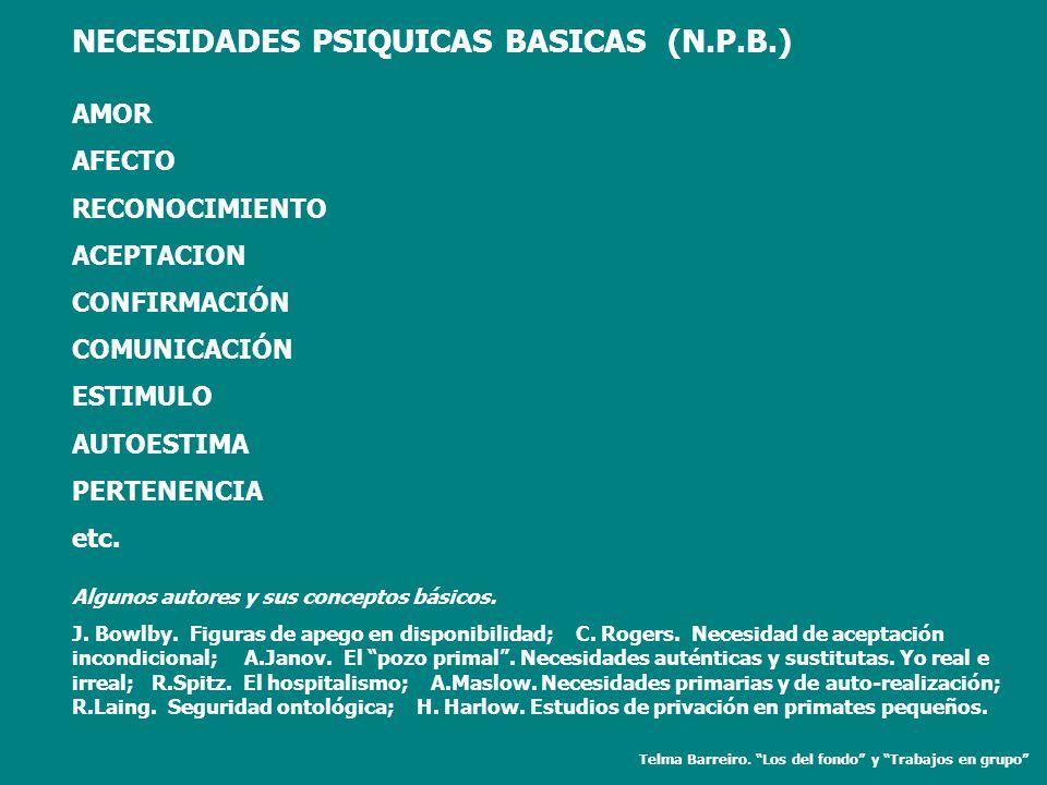 NECESIDADES PSIQUICAS BASICAS (N.P.B.) AMOR AFECTO RECONOCIMIENTO ACEPTACION CONFIRMACIÓN COMUNICACIÓN ESTIMULO AUTOESTIMA PERTENENCIA etc. Algunos au