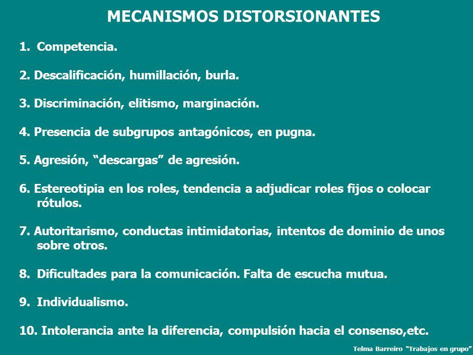MECANISMOS DISTORSIONANTES 1.Competencia. 2. Descalificación, humillación, burla. 3. Discriminación, elitismo, marginación. 4. Presencia de subgrupos
