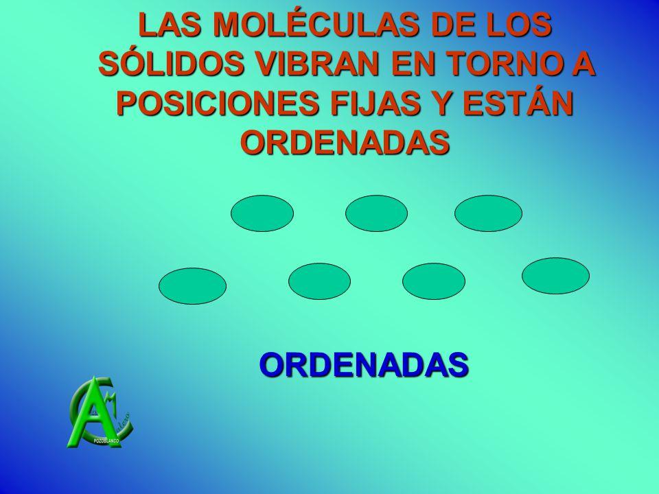 LAS MOLÉCULAS DE LOS SÓLIDOS VIBRAN EN TORNO A POSICIONES FIJAS Y ESTÁN ORDENADAS ORDENADAS