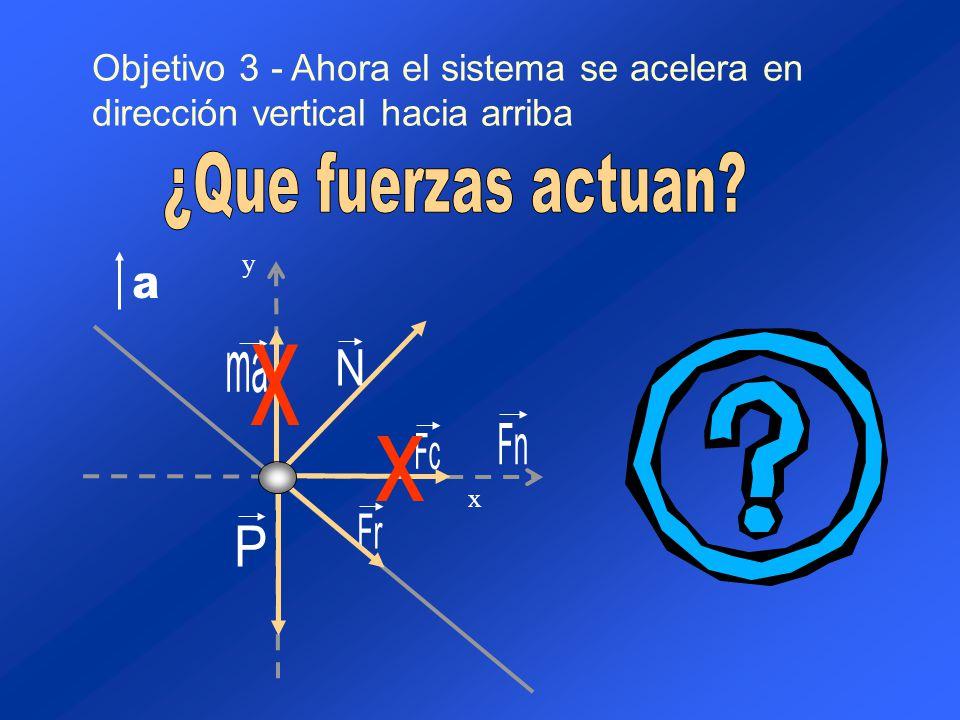 Objetivo 3 - Ahora el sistema se acelera en dirección vertical hacia arriba y x