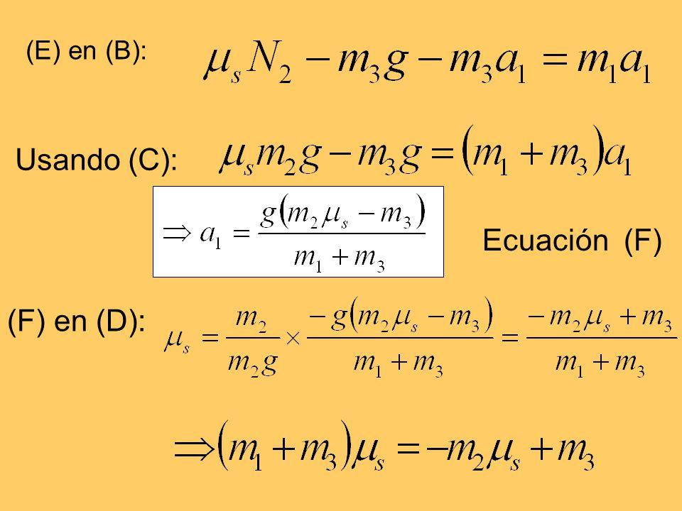 (E) en (B): Usando (C): Ecuación (F) (F) en (D):