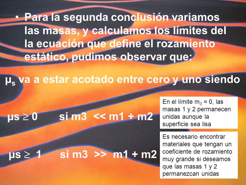 Para la segunda conclusión variamos las masas, y calculamos los límites del la ecuación que define el rozamiento estático, pudimos observar que: µ s va a estar acotado entre cero y uno siendo µs 0 si m3 << m1 + m2 µs 1 si m3 >> m1 + m2 En el límite m 3 = 0, las masas 1 y 2 permanecen unidas aunque la superficie sea lisa Es necesario encontrar materiales que tengan un coeficiente de rozamiento muy grande si deseamos que las masas 1 y 2 permanezcan unidas