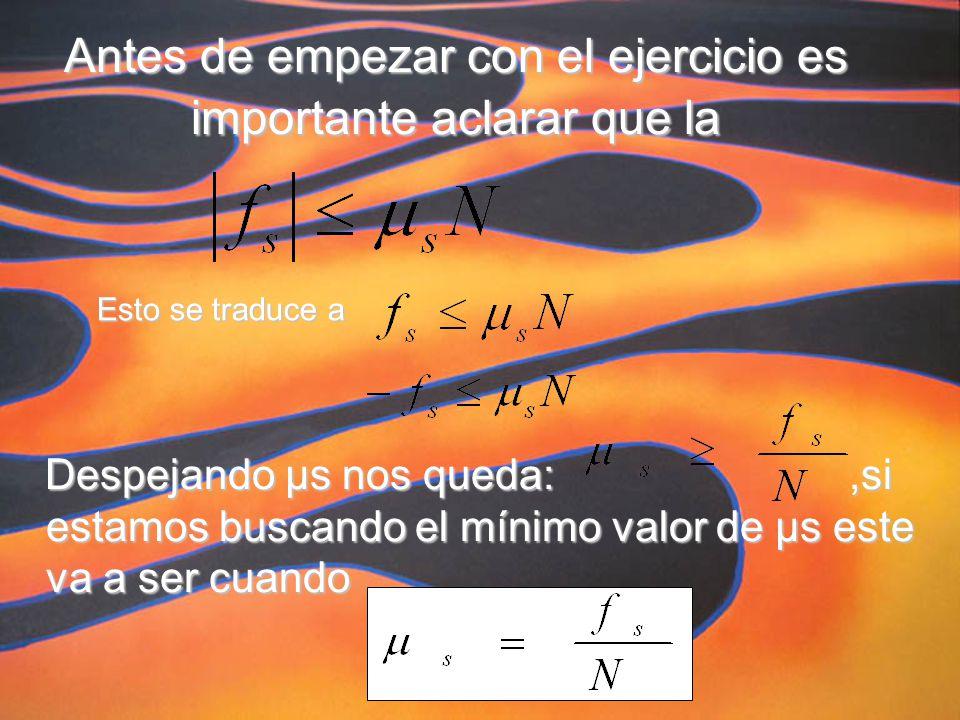 Antes de empezar con el ejercicio es importante aclarar que la Despejando µs nos queda:,si estamos buscando el mínimo valor de µs este va a ser cuando Esto se traduce a