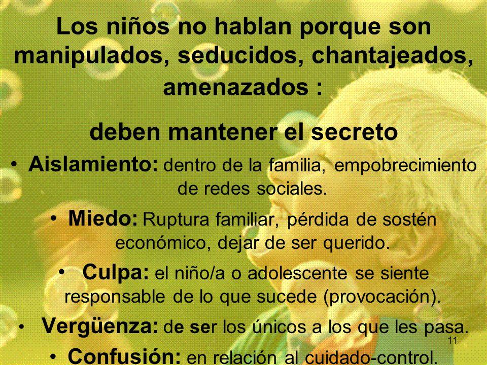 11 Los niños no hablan porque son manipulados, seducidos, chantajeados, amenazados : deben mantener el secreto Aislamiento: dentro de la familia, empo