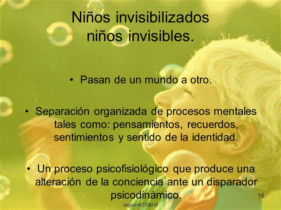15 Niños invisibilizados niños invisibles. Pasan de un mundo a otro. Separación organizada de procesos mentales tales como: pensamientos, recuerdos, s