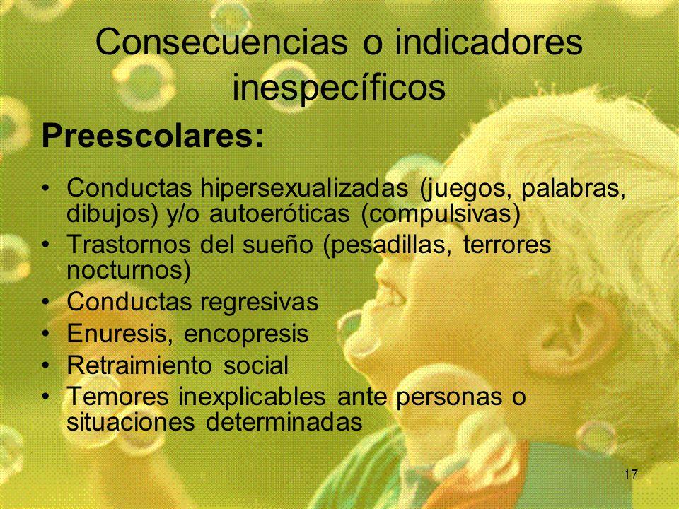 17 Consecuencias o indicadores inespecíficos Preescolares: Conductas hipersexualizadas (juegos, palabras, dibujos) y/o autoeróticas (compulsivas) Tras