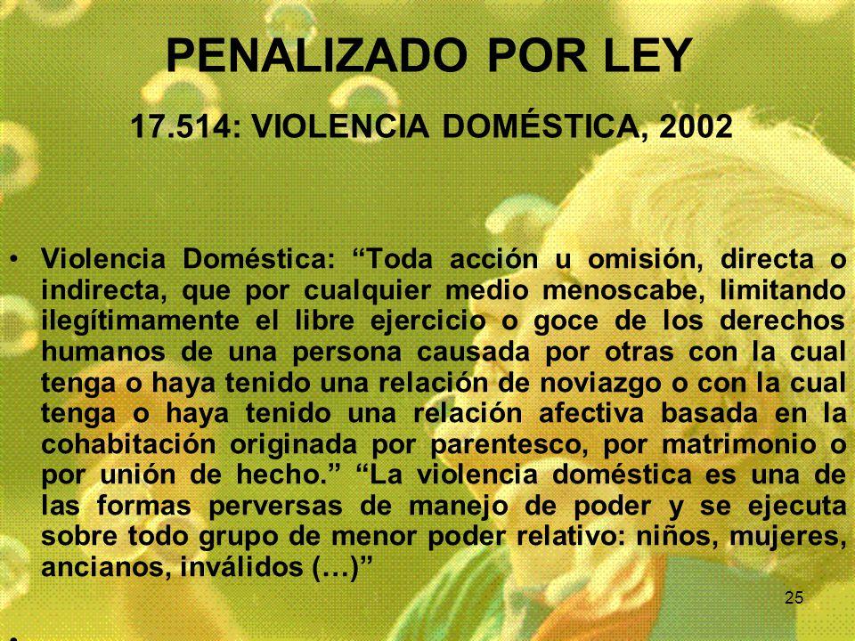 25 PENALIZADO POR LEY 17.514: VIOLENCIA DOMÉSTICA, 2002 Violencia Doméstica: Toda acción u omisión, directa o indirecta, que por cualquier medio menos