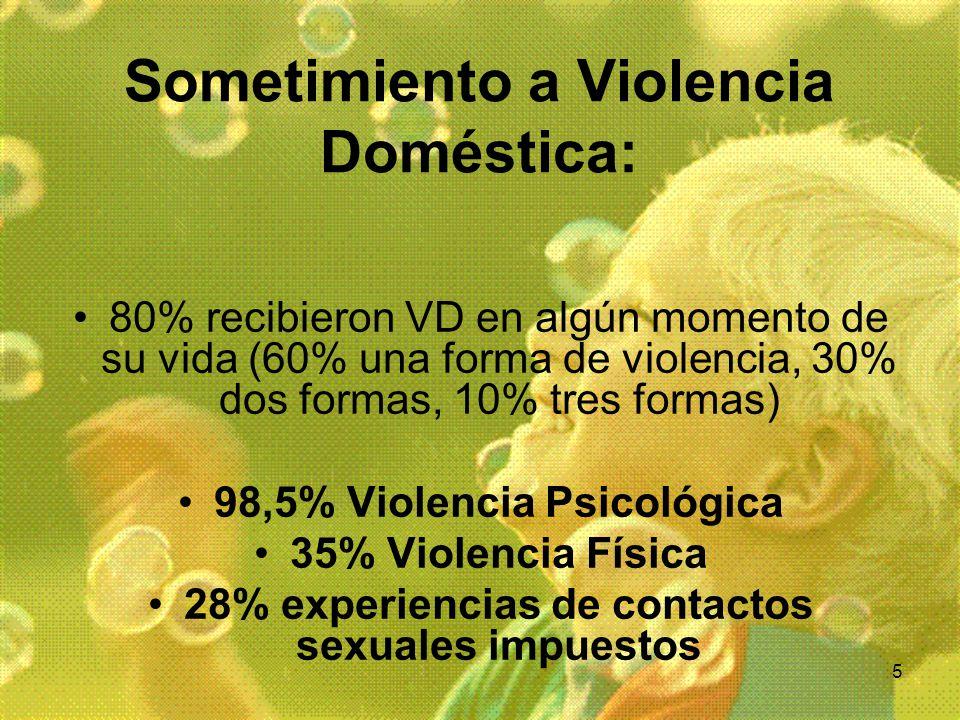 5 Sometimiento a Violencia Doméstica: 80% recibieron VD en algún momento de su vida (60% una forma de violencia, 30% dos formas, 10% tres formas) 98,5