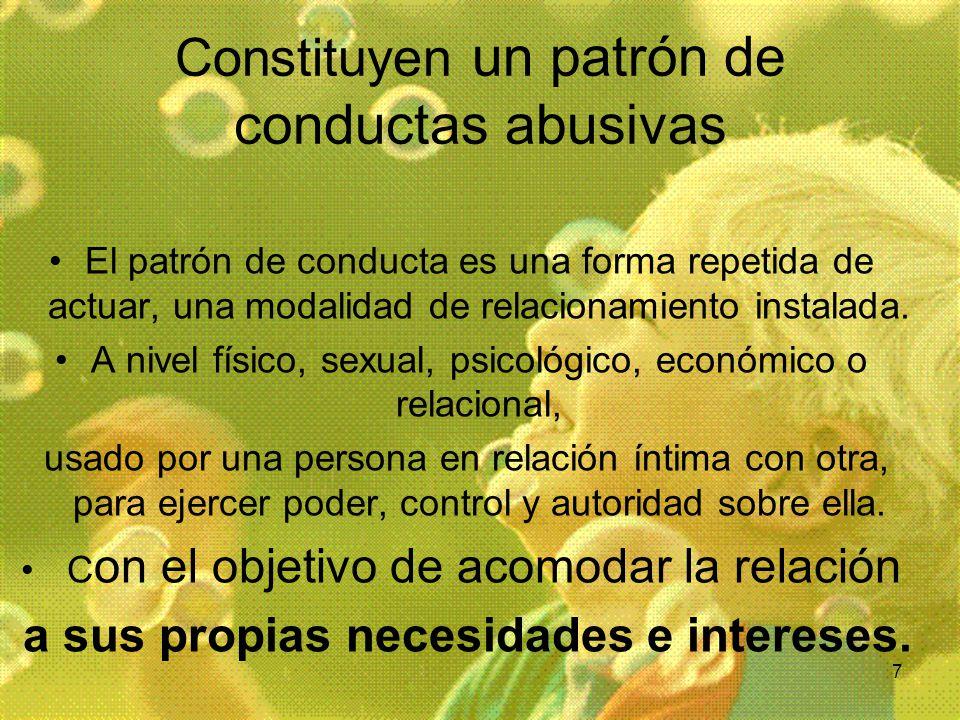 7 Constituyen un patrón de conductas abusivas El patrón de conducta es una forma repetida de actuar, una modalidad de relacionamiento instalada. A niv