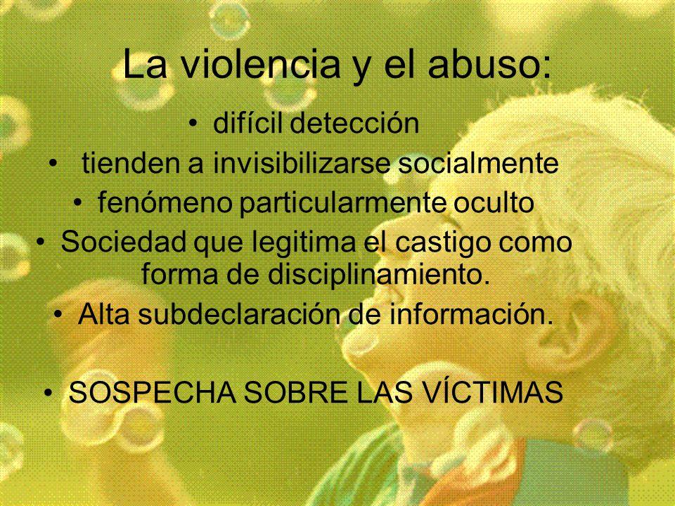 La violencia y el abuso: difícil detección tienden a invisibilizarse socialmente fenómeno particularmente oculto Sociedad que legitima el castigo como