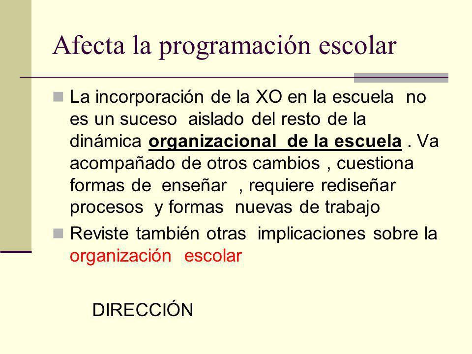 Afecta la programación escolar La incorporación de la XO en la escuela no es un suceso aislado del resto de la dinámica organizacional de la escuela.