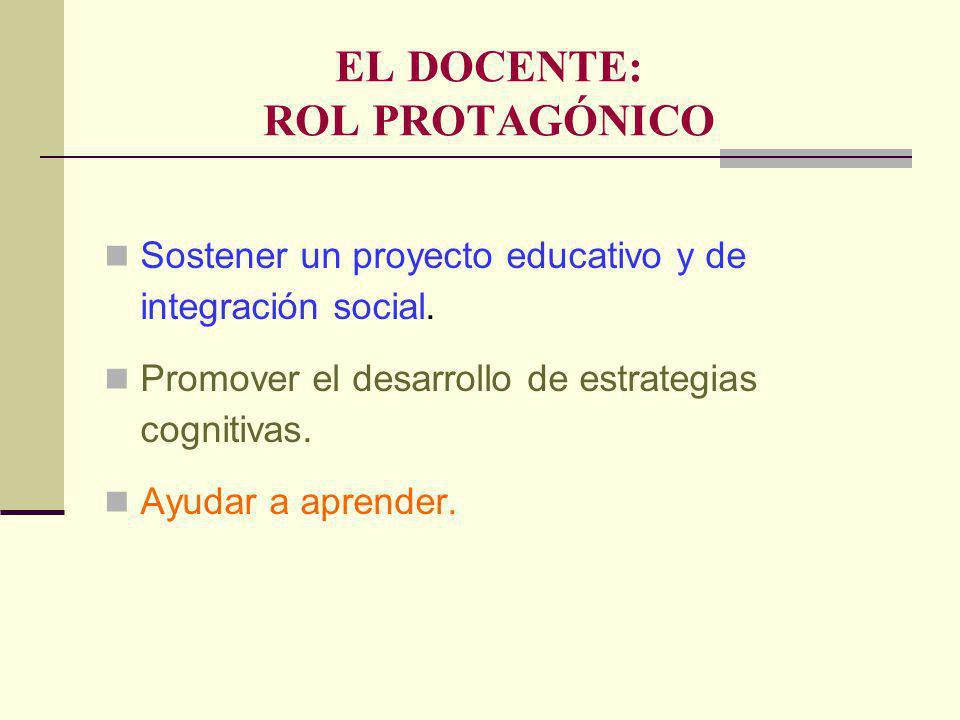 EL DOCENTE: ROL PROTAGÓNICO Sostener un proyecto educativo y de integración social.