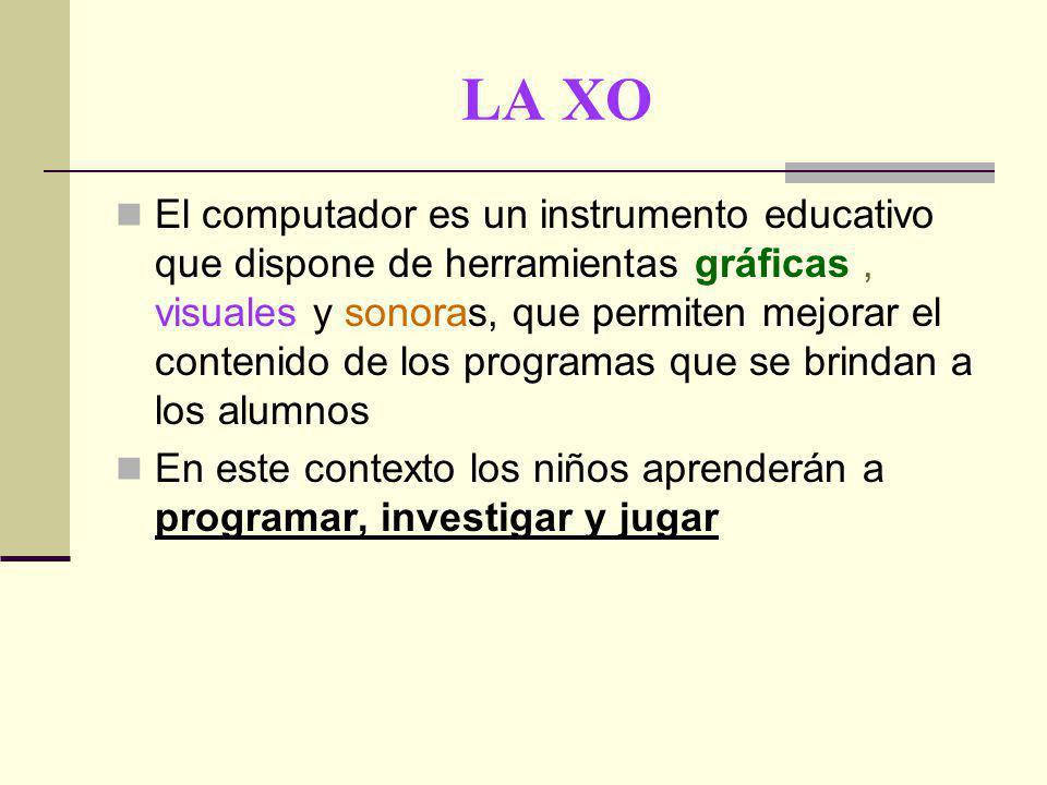 LA XO El computador es un instrumento educativo que dispone de herramientas gráficas, visuales y sonoras, que permiten mejorar el contenido de los programas que se brindan a los alumnos En este contexto los niños aprenderán a programar, investigar y jugar