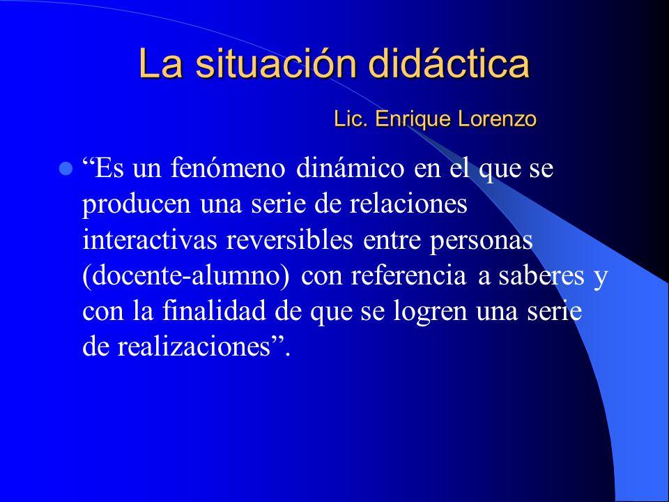 La situación didáctica Lic. Enrique Lorenzo Es un fenómeno dinámico en el que se producen una serie de relaciones interactivas reversibles entre perso