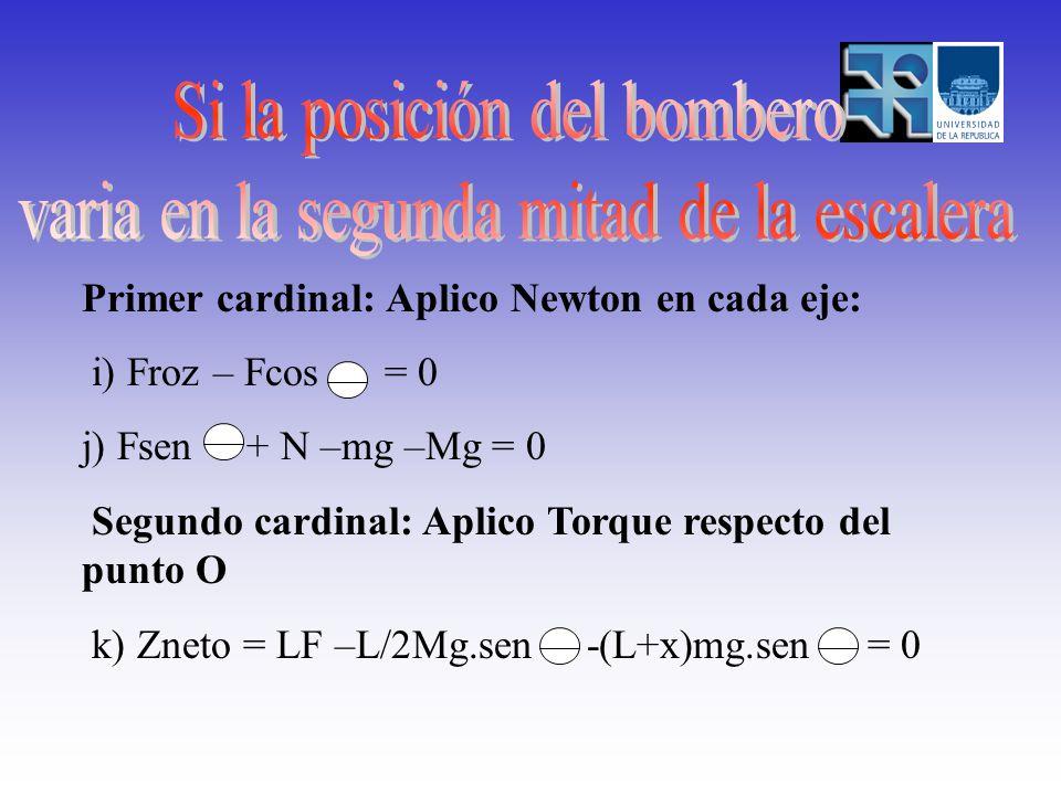 Primer cardinal: Aplico Newton en cada eje: i) Froz – Fcos = 0 j) Fsen + N –mg –Mg = 0 Segundo cardinal: Aplico Torque respecto del punto O k) Zneto = LF –L/2Mg.sen -(L+x)mg.sen = 0