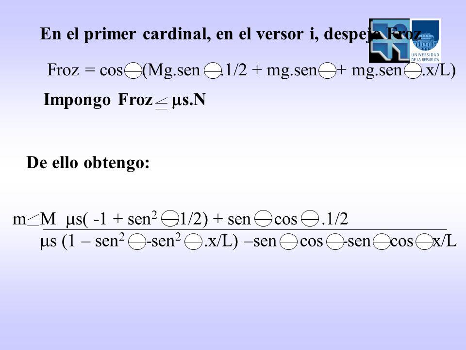 En el primer cardinal, en el versor i, despejo Froz Froz = cos (Mg.sen.1/2 + mg.sen + mg.sen.x/L) Impongo Froz s.N m M s( -1 + sen 2.1/2) + sen cos.1/2 s (1 – sen 2 -sen 2.x/L) –sen cos -sen cos x/L De ello obtengo: