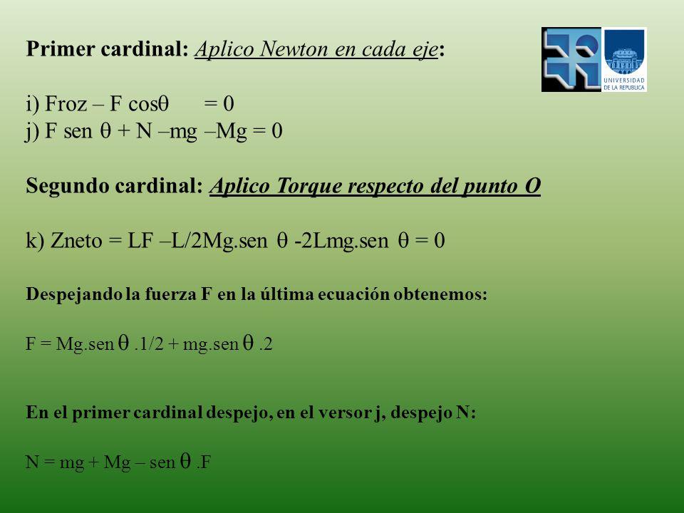 Primer cardinal: Aplico Newton en cada eje: i) Froz – F cos = 0 j) F sen + N –mg –Mg = 0 Segundo cardinal: Aplico Torque respecto del punto O k) Zneto = LF –L/2Mg.sen -2Lmg.sen = 0 Despejando la fuerza F en la última ecuación obtenemos: F = Mg.sen.1/2 + mg.sen.2 En el primer cardinal despejo, en el versor j, despejo N: N = mg + Mg – sen.F