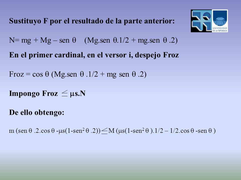 Sustituyo F por el resultado de la parte anterior: N= mg + Mg – sen (Mg.sen.1/2 + mg.sen.2) En el primer cardinal, en el versor i, despejo Froz Froz =