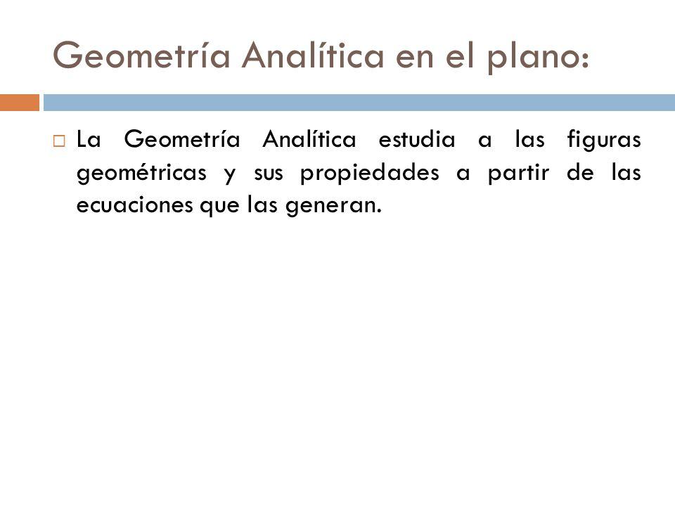 Geometría Analítica en el plano: La Geometría Analítica estudia a las figuras geométricas y sus propiedades a partir de las ecuaciones que las generan