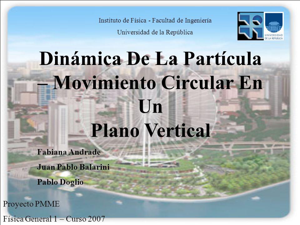 Proyecto PMME Física General 1 – Curso 2007 Instituto de Física - Facultad de Ingeniería Universidad de la República Dinámica De La Partícula – Movimi