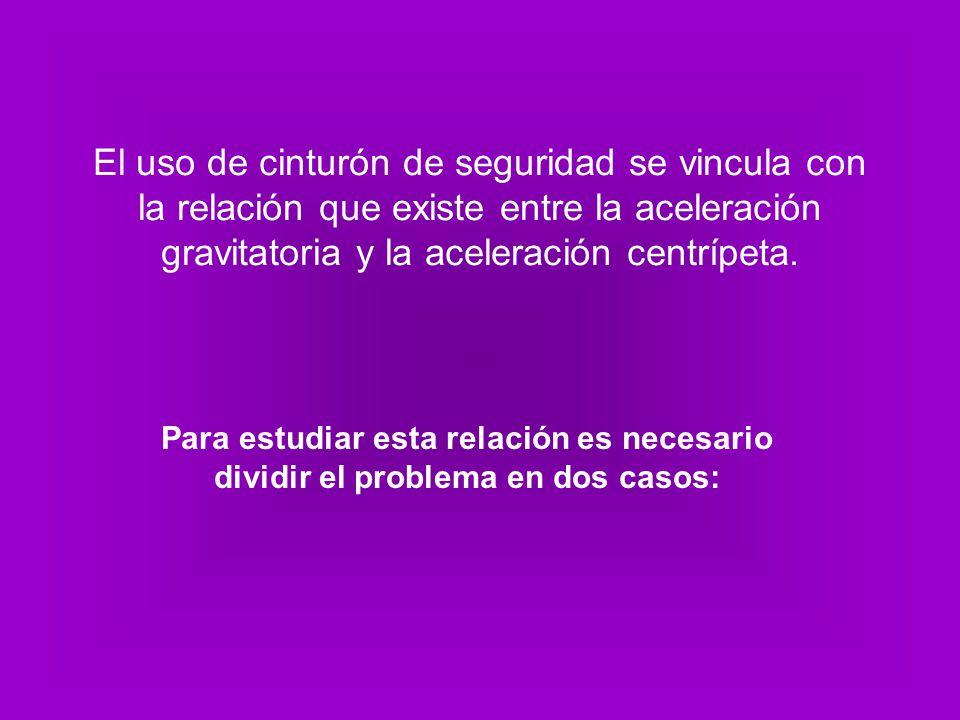 El uso de cinturón de seguridad se vincula con la relación que existe entre la aceleración gravitatoria y la aceleración centrípeta. Para estudiar est