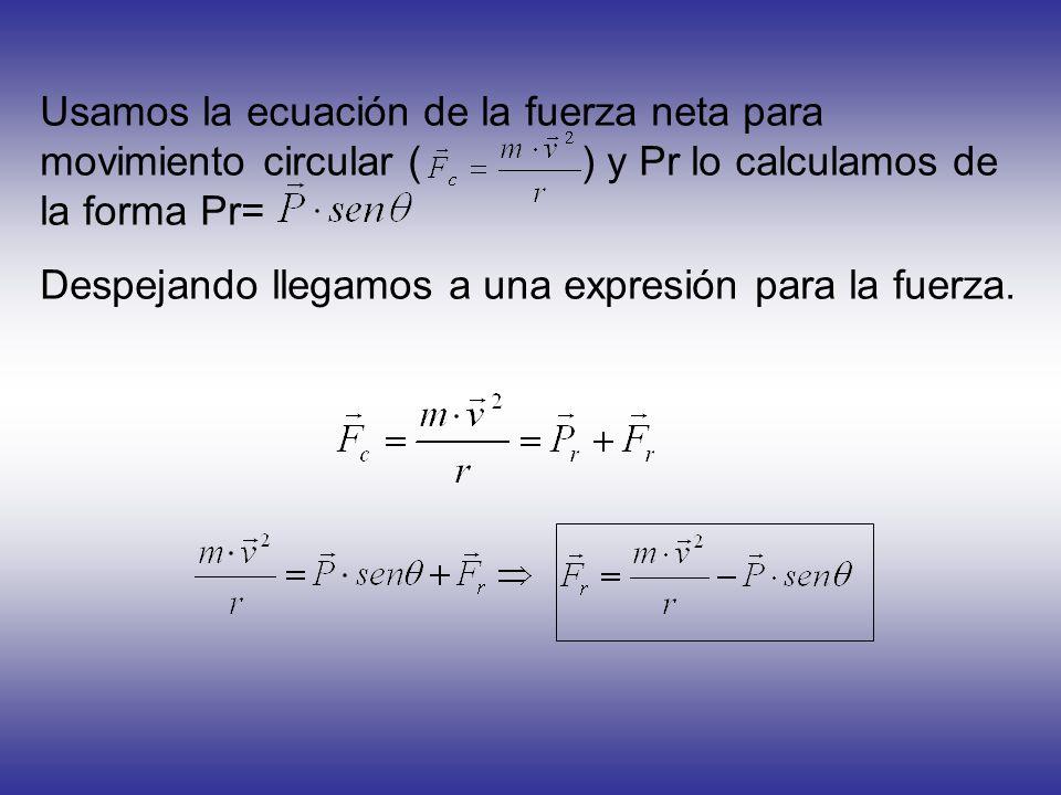 Usamos la ecuación de la fuerza neta para movimiento circular ( ) y Pr lo calculamos de la forma Pr= Despejando llegamos a una expresión para la fuerz