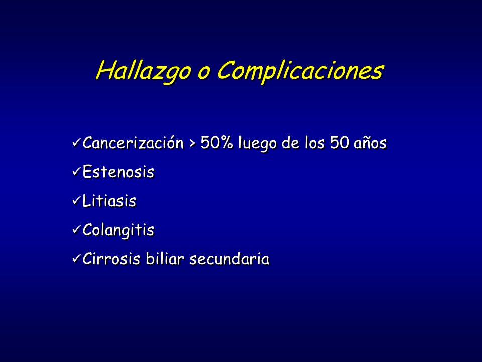 Hallazgo o Complicaciones Cancerización > 50% luego de los 50 años Estenosis Litiasis Colangitis Cirrosis biliar secundaria Cancerización > 50% luego