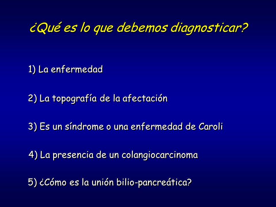 ¿Qué es lo que debemos diagnosticar? 1)La enfermedad 2) La topografía de la afectación 3) Es un síndrome o una enfermedad de Caroli 4) La presencia de