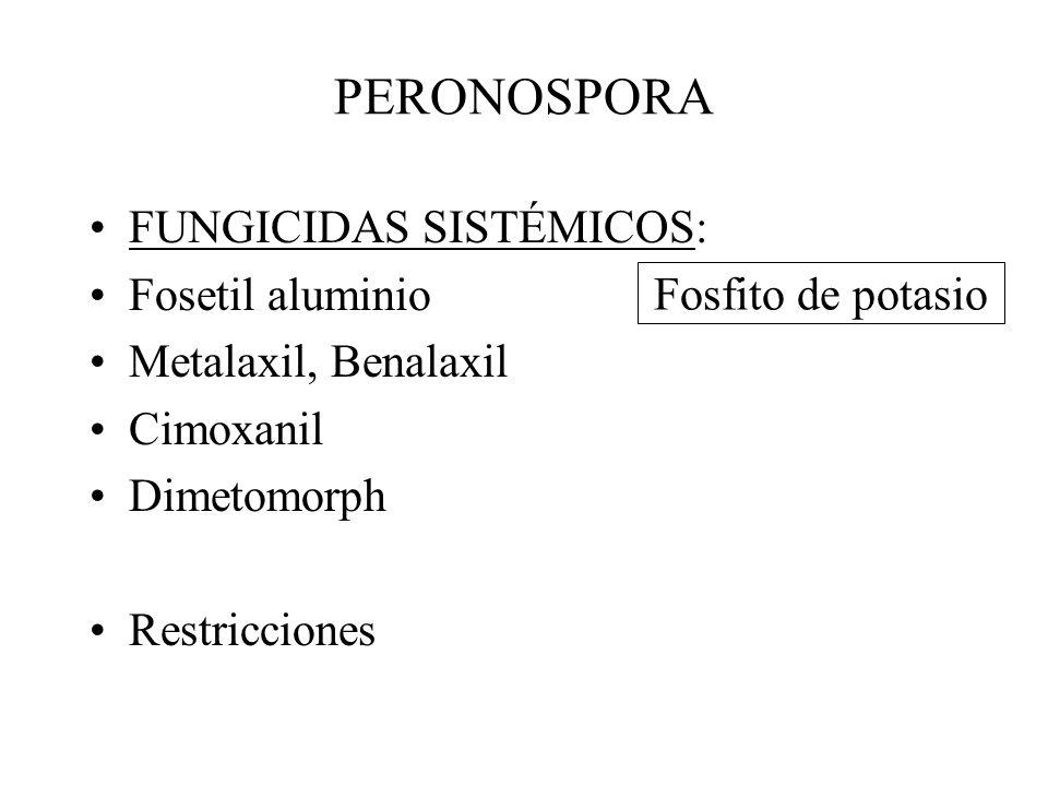 PERONOSPORA FUNGICIDAS: de contacto: –Cobre –Mancozeb, maneb, metiram –Propineb, Ziram, Ferbam –Folpet, Captan –Tolyfluanid –Azoxystrobin, Pyraclostrobin