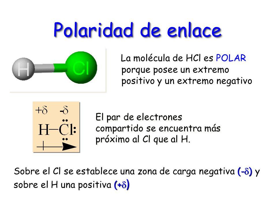 Polaridad de enlace La molécula de HCl es POLAR porque posee un extremo positivo y un extremo negativo El par de electrones compartido se encuentra má