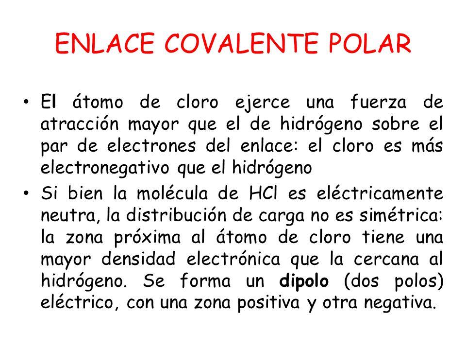 ENLACE COVALENTE POLAR El átomo de cloro ejerce una fuerza de atracción mayor que el de hidrógeno sobre el par de electrones del enlace: el cloro es m