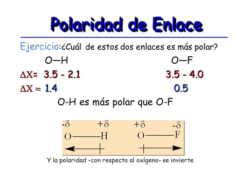 Polaridad de Enlace Ejercicio :¿Cuál de estos dos enlaces es más polar? OH OF OH OF = 3.5 - 2.1 3.5 - 4.0 = 3.5 - 2.1 3.5 - 4.0 1.4 0.5 1.4 0.5 O-H es