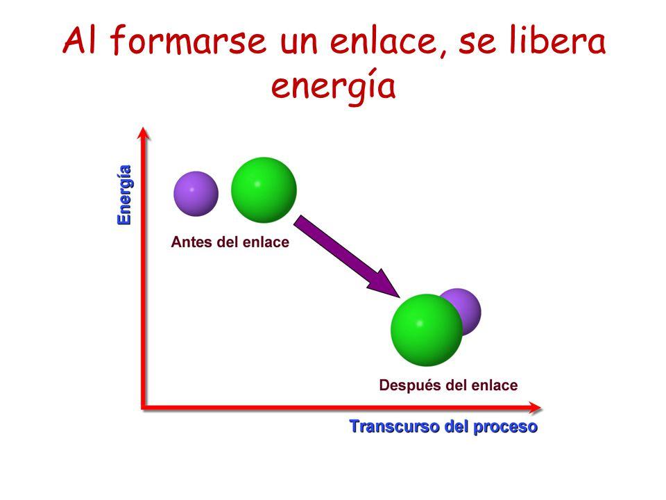 Al formarse un enlace, se libera energía