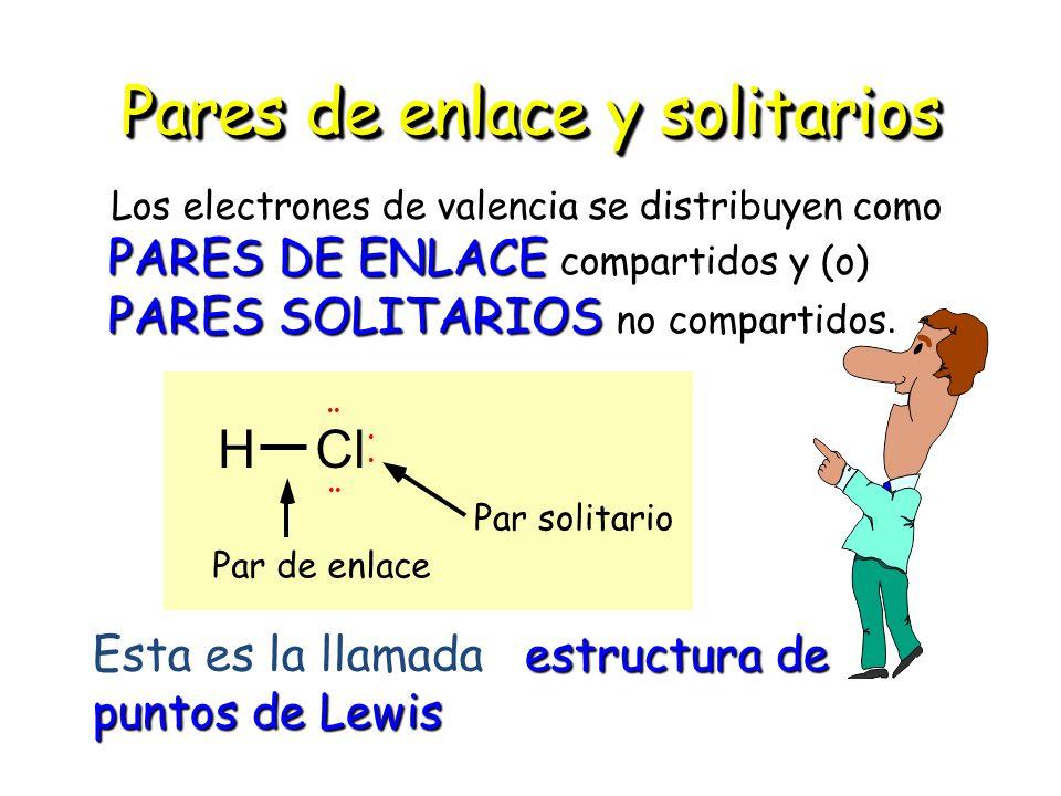 Pares de enlace y solitarios Los electrones de valencia se distribuyen como PARES DE ENLACE ENLACE compartidos y (o) PARES SOLITARIOS no compartidos.