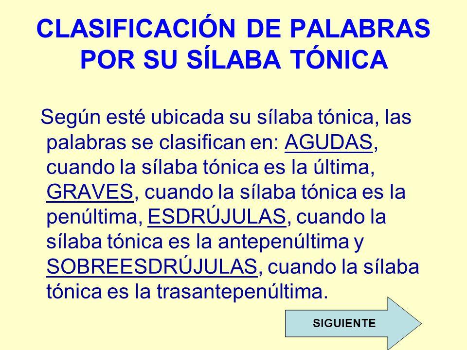 CLASIFICACIÓN DE PALABRAS POR SU SÍLABA TÓNICA Según esté ubicada su sílaba tónica, las palabras se clasifican en: AGUDAS, cuando la sílaba tónica es