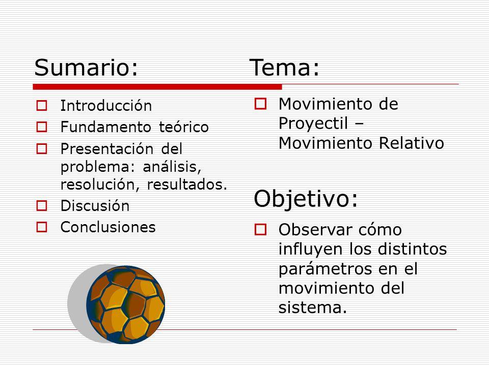 Sumario: Introducción Fundamento teórico Presentación del problema: análisis, resolución, resultados. Discusión Conclusiones Movimiento de Proyectil –