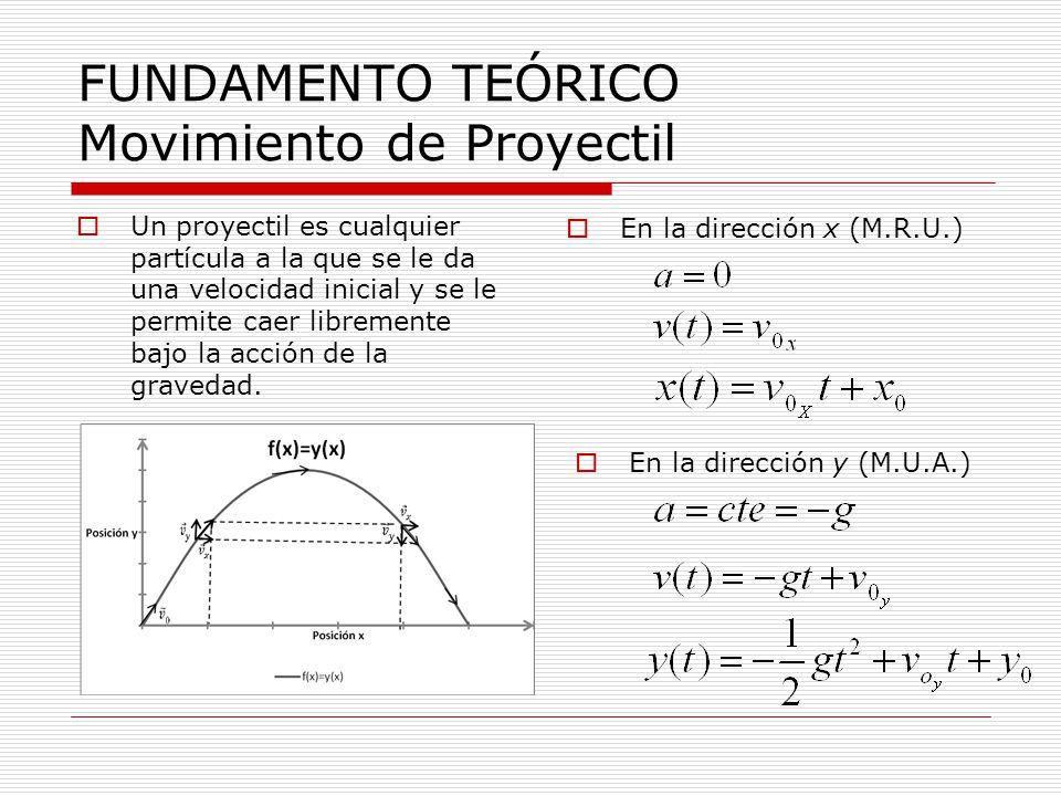 FUNDAMENTO TEÓRICO Movimiento de Proyectil Un proyectil es cualquier partícula a la que se le da una velocidad inicial y se le permite caer libremente bajo la acción de la gravedad.