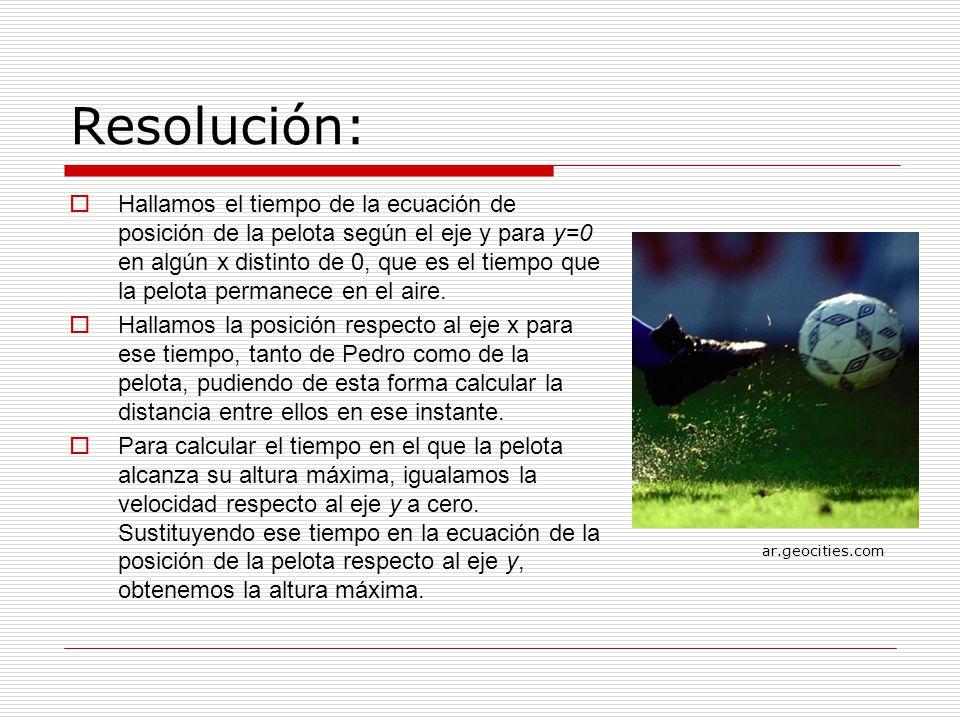Resolución: Hallamos el tiempo de la ecuación de posición de la pelota según el eje y para y=0 en algún x distinto de 0, que es el tiempo que la pelota permanece en el aire.
