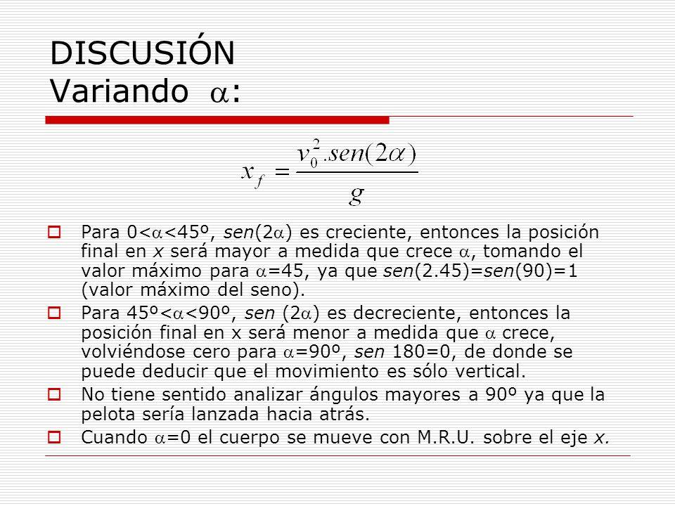 DISCUSIÓN Variando : Para 0<<45º, sen(2) es creciente, entonces la posición final en x será mayor a medida que crece, tomando el valor máximo para =45, ya que sen(2.45)=sen(90)=1 (valor máximo del seno).