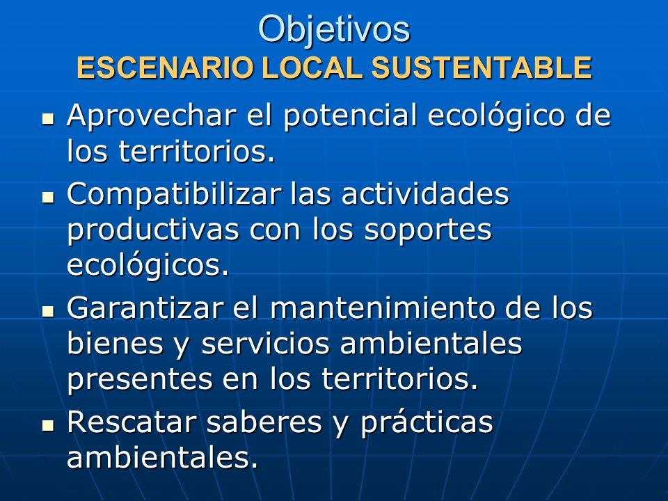 Objetivos ESCENARIO LOCAL SUSTENTABLE Aprovechar el potencial ecológico de los territorios.